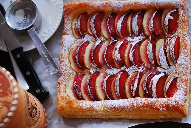 plum and apple tart on puff pastry, pie