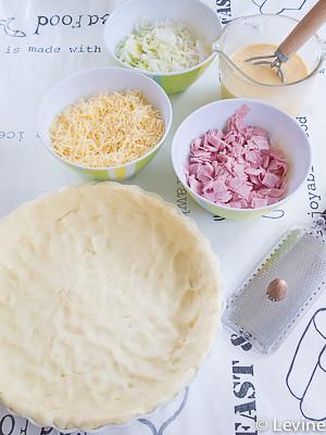 Hartige taart met prei en ham-1
