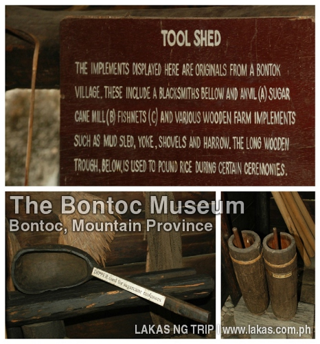 Tools shed and the tools in The Bontoc Museum in Bontoc, Mountain Province
