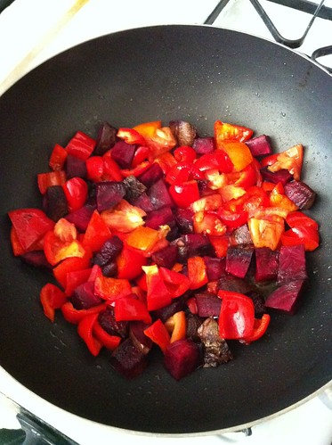 Ruby Red Stir Fry - Cooking
