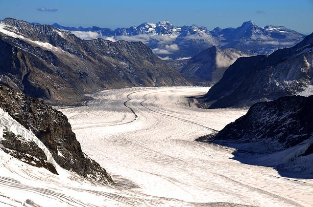 Glaciar Aletsh en Suiza desde el Top of Europe