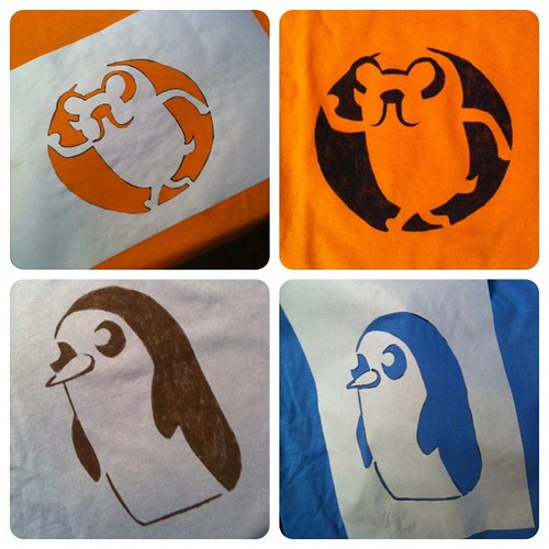 Adventure Time freezer paper stencil T-shirts for the boys. Gunter and Jake! :)