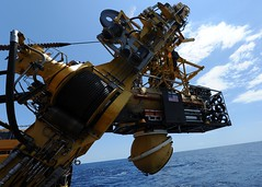 In this file photo, the U.S. Navy's Deep Submergence Unit releases the U.S. Navy Submarine Rescue Diving and Recompression System's (SRDRS) Pressurized Rescue Module (PRM), Falcon, to mate with the Portuguese navy submarine SSK Tridente (S 70) in the Mediterranean in June 2011. (U.S. Navy photo by Chief Mass Communication Specialist Kathryn Whittenberger)