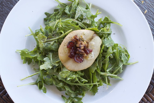 Roasted Pear Salad with cranberries and blue cheese