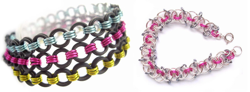 Sandy Mitchell - Rubber Chains Bracelets, Flat Chainmail Fuchsia