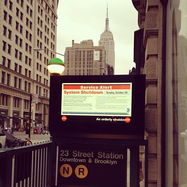 New York City subway shutdown sign for hurricane Sandy 2012