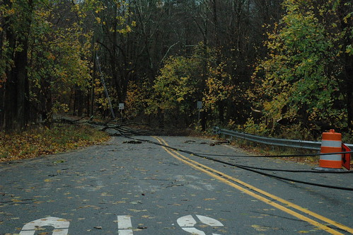 Gould Road entrance blocked by power lines in West Milford, N.J. by Jai Agnish