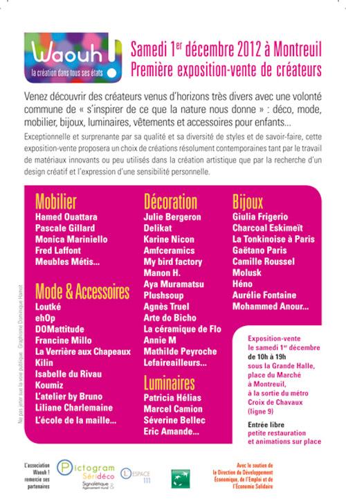 Flyer verso Expo-vente Waouh - 1er Décembre 2012 - Montreuil