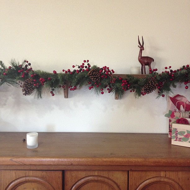 Phase 2 complete and berry garland is up! #christmasdecorations #garland