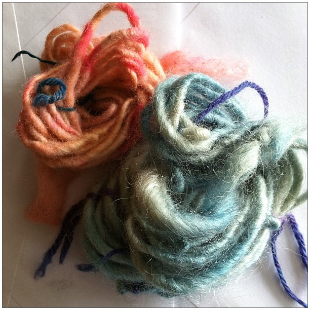 hand spun and hand dyed yarn by knot by gran'ma
