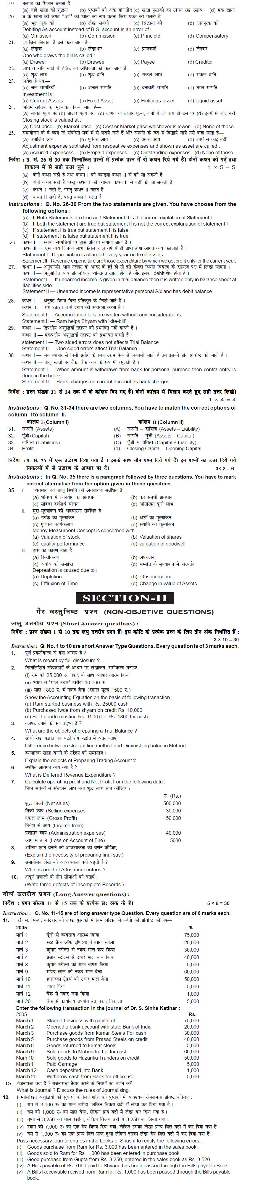 Bihar Board Class XI Commerce Model Question Papers - Accountancy