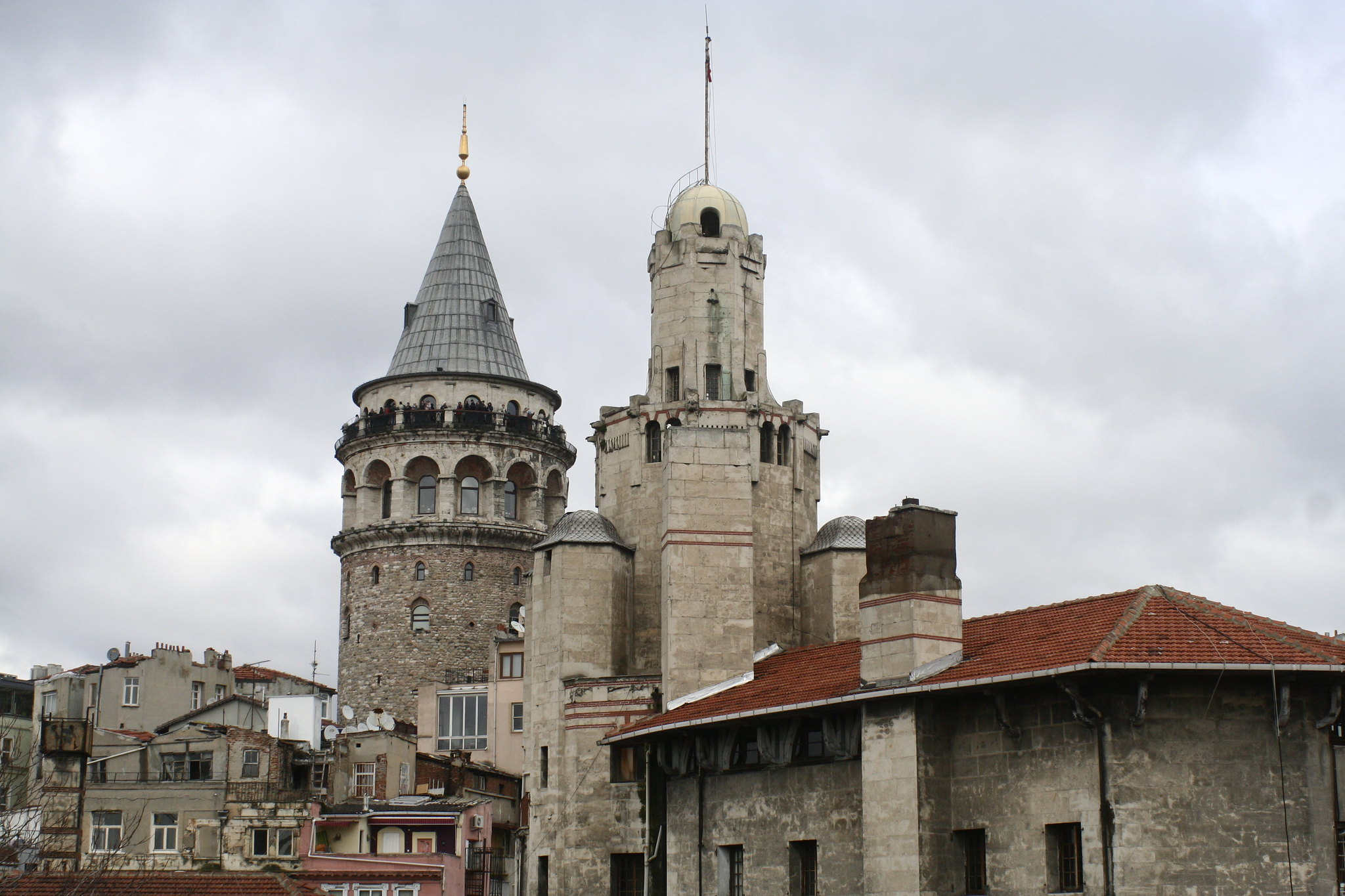 View towards Galata Tower from Istanbul roof top