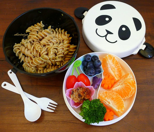 Pesto Pasta Panda Bento - the first bento of 2013!