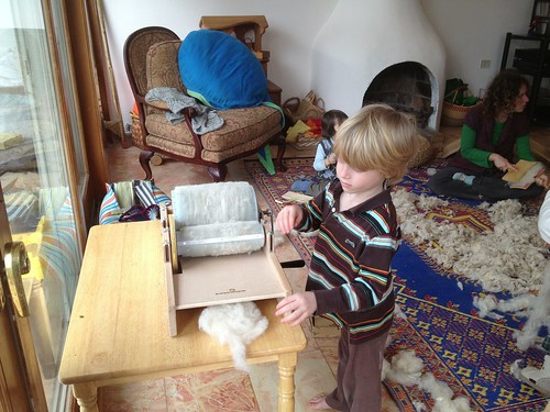 Elie carding with drum carder