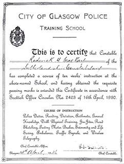 Sutherland Constabulary Training Certificate 1936