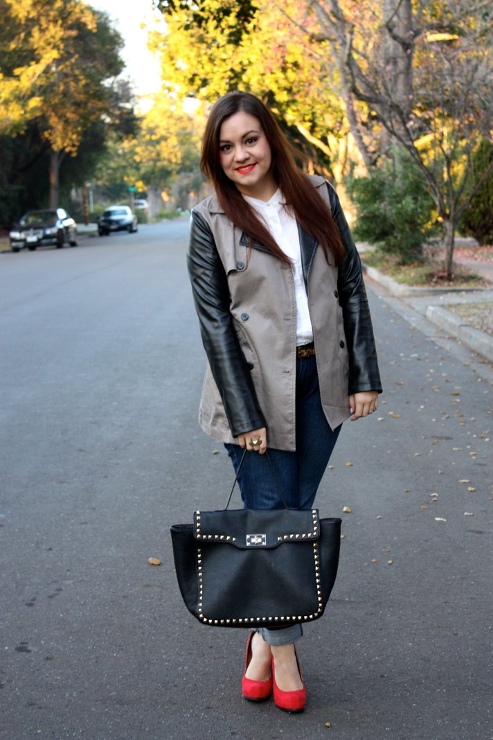 SF Bay Area Fashion & Lifestyle - Leather Sleeve Trench, White Equipment Blouse, Levi's Jeans, Red Pump, Black Studded Trim Tote
