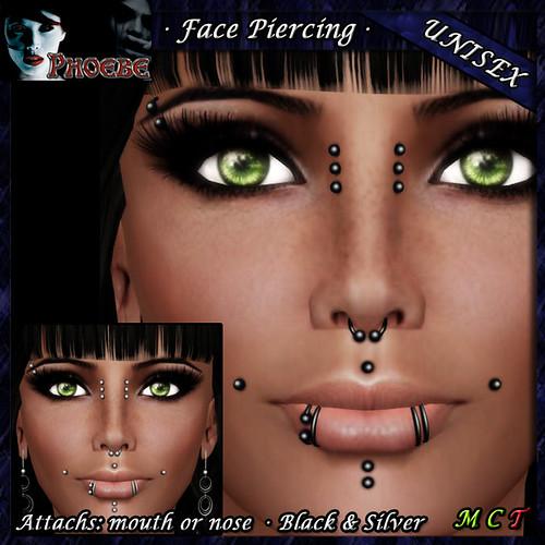 [$55L PROMO] *P* Unisex Face Piercing ~ Serie K3 ~ Black & Silver