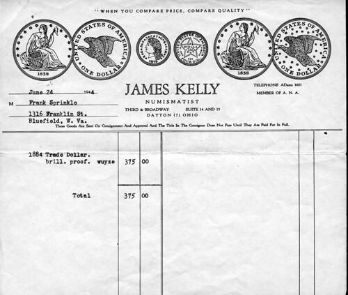 Sprinkle 1884 dollar invoice