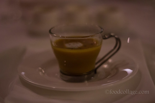 Complimentary Lobster Bisque with Squash and Coconut Cream at Auberge du Pommier (Toronto)