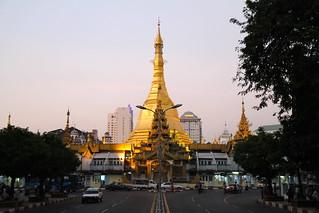 Image of  Sule Pagoda  near  Shwedagon Pagoda. travel yangon burma myanmar sulepagoda