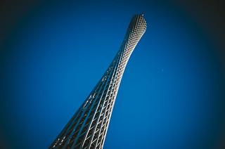 Image of  Canton Tower. tower architecture skyscraper sky blue white kwongchow guangzhou canton cantontower guangdong china chine ricoh gr ricohgr apsc 28mm vsco auzi metropolitan metropolits urban city azul moon lomo prime shot