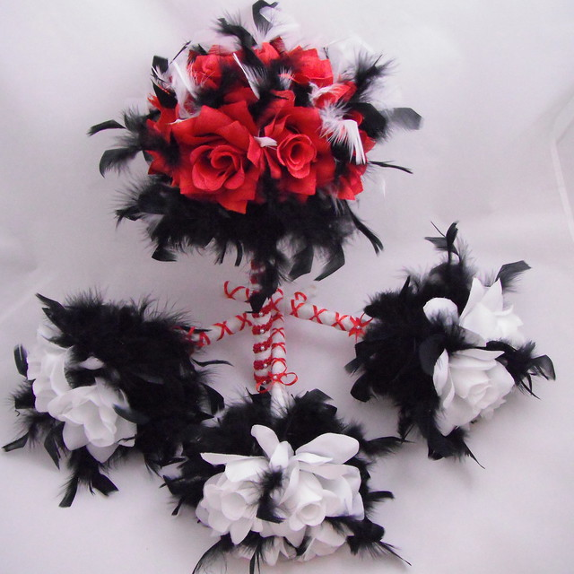 Wedding Bouquets Red And Black : Wedding bouquet set red black and white brides