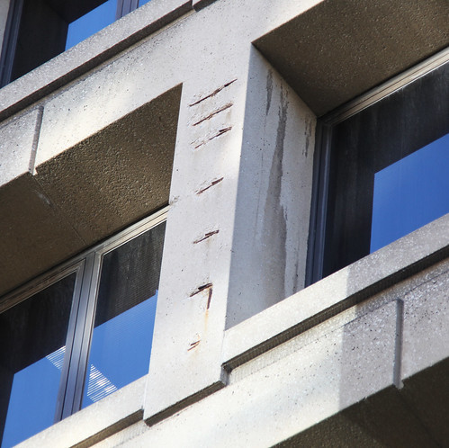 Damaged concrete on east facade - J Edgar Hoover Building - Washington DC - 2012
