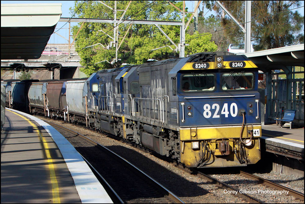 8240 & 8252 works it's way through Cockle Creek station by Corey Gibson