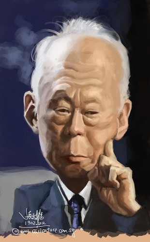 digital caricature of Lee Kuan Yew 李光耀 - 2