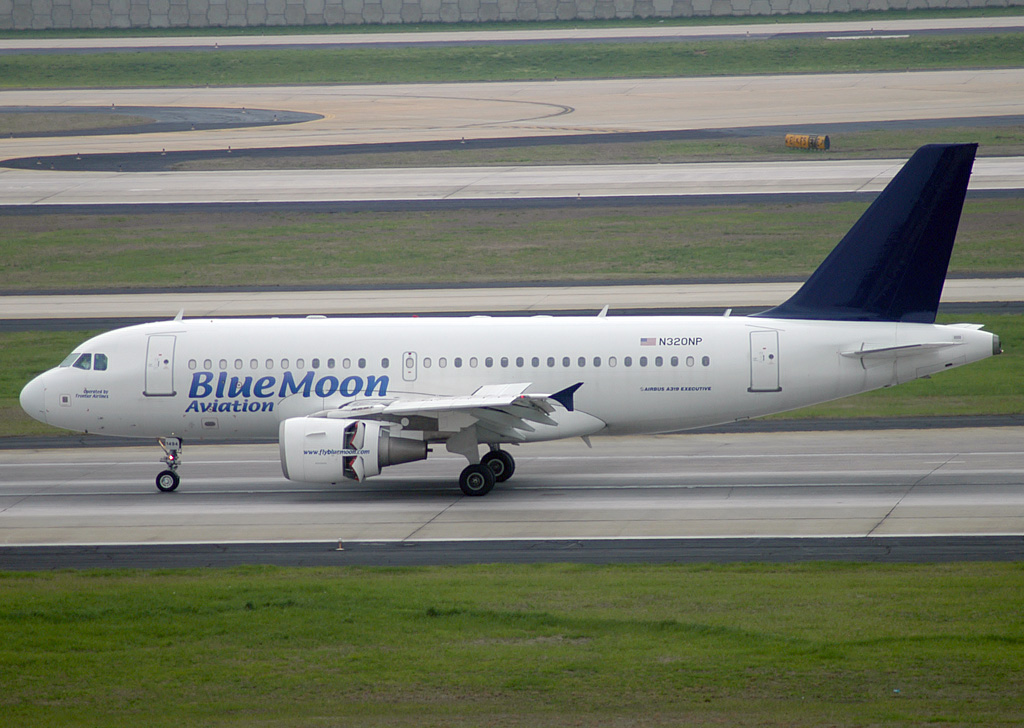 Blue Moon Aviation A320-200 N320NP opb Frontier Airlines just landed at ATL.