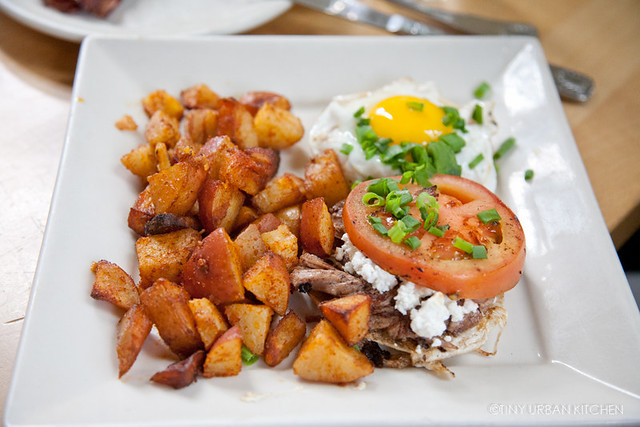Home fries, sunny side up egg,