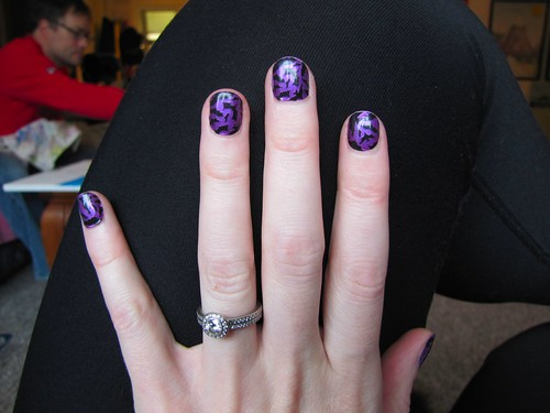 purple nails with black bats