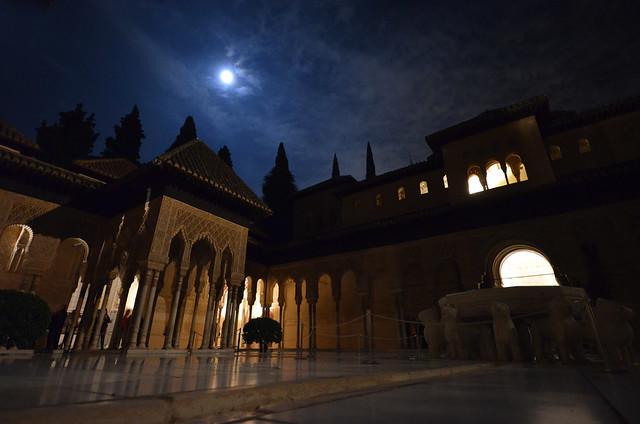 Vista de la Alhambra de Granada de noche