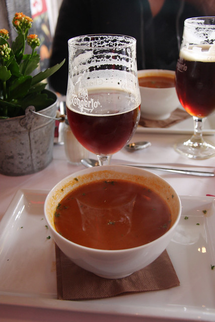 Hot tomato soup in Bruges