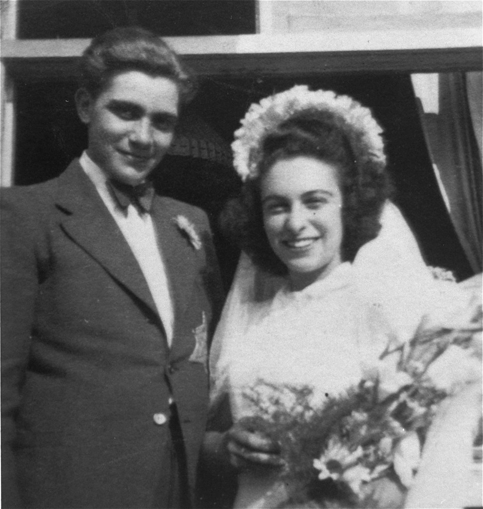 014---Portrait of a Jewish bride and groom at their wedding in the Westerbork transit camp