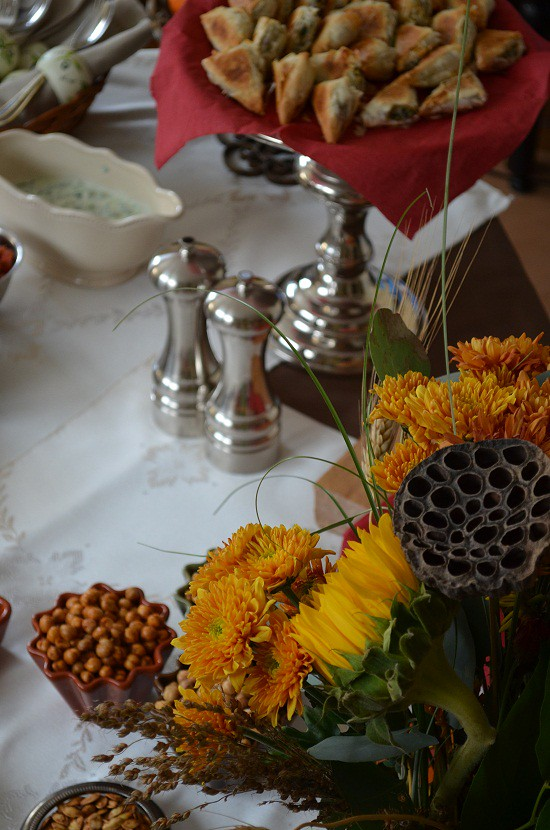 Eid Appetizer Table with flowers