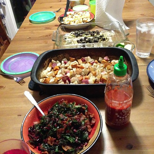 Fall harvest dinner: rainbow chard with bacon; roast root vegetables; cod; roasted cauliflower; and roasted beets (not in pic)