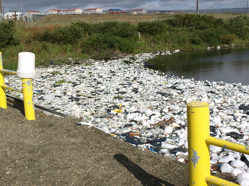 This sewage lagoon containing untreated waste,  and waste (honey) buckets convey the dire need for upgrade, along with alleviating the need to haul in drinking water.  Wind blown trash and plastic masses at the edge of the open lagoon. Photos courtesy of Larry Yerich and Tasha Deardorff, USDA