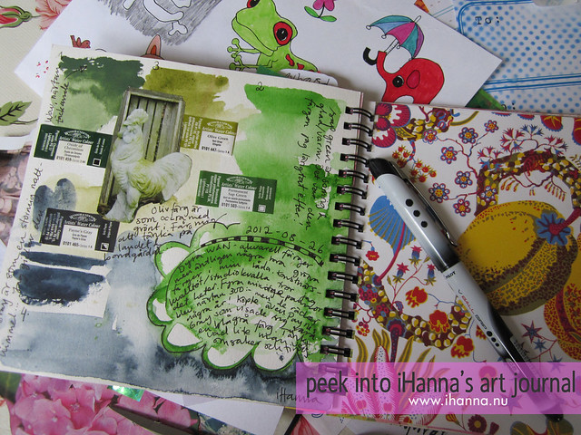 Peek into iHanna's art journal: green test page