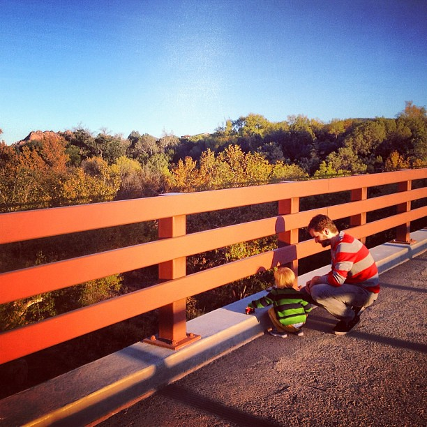 Playing trains on the bridge. So thankful for this beautiful Fall day!
