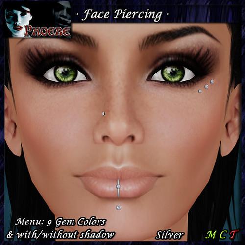 [$50L PROMO] *P* Diamonds Facial Piercing ~9 Gem Colors-Silver~