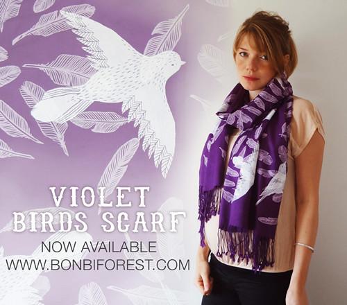 Violet Bird Scarf