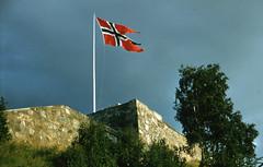 Flagget vaier over Kristiansten Festning (ca. 1955)