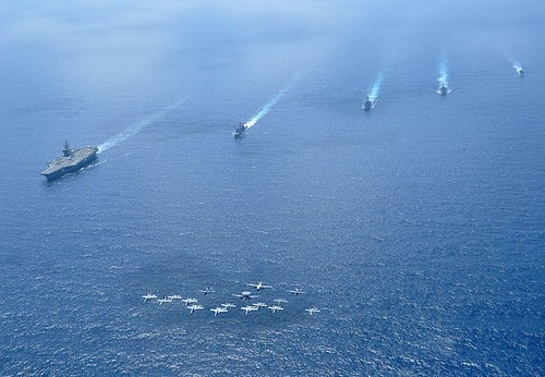Ships and aircraft assigned to Carrier Strike Group (CSG) 11 operate in formation