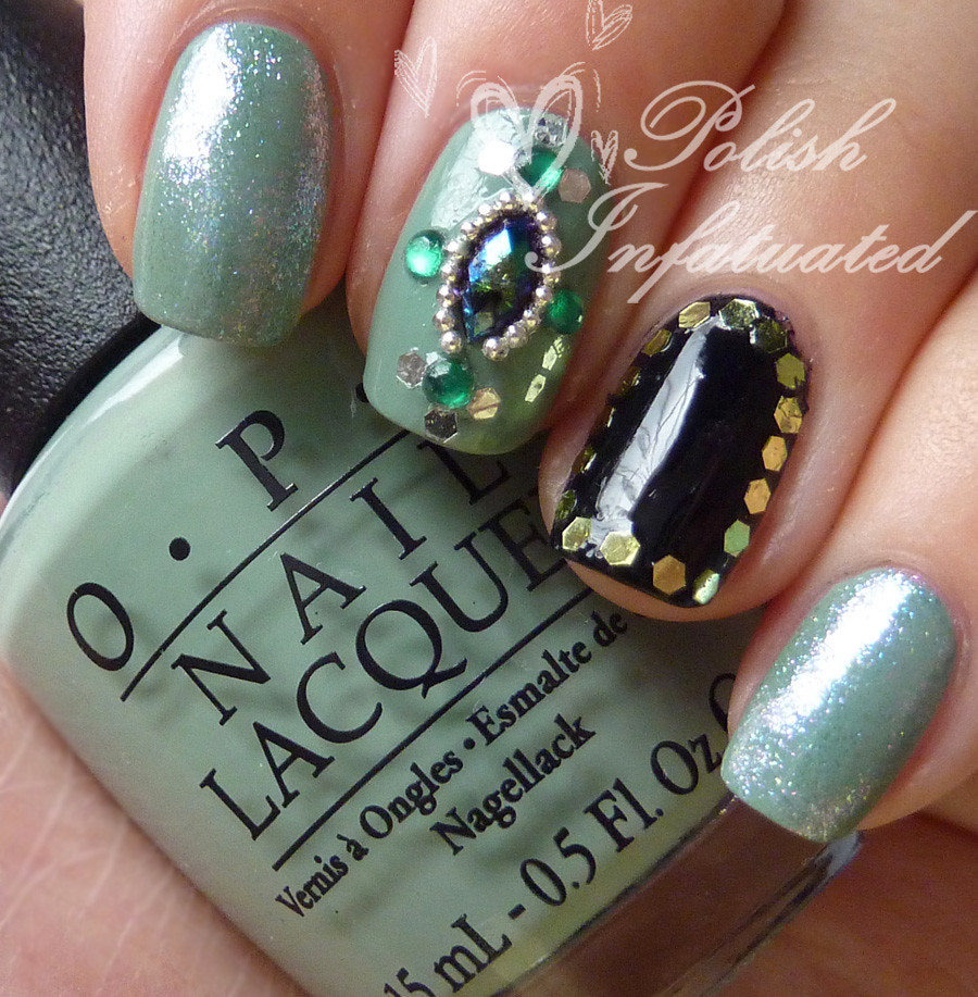 green jewelled nails1