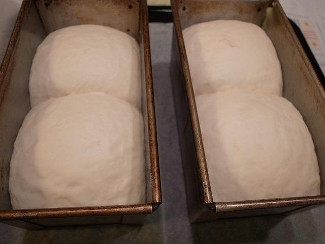 <p>b)型の8分目まで発酵したらオーブンへ</p>