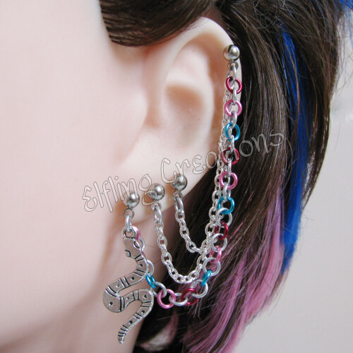 Snake Cartilage Connecting Chain Earring