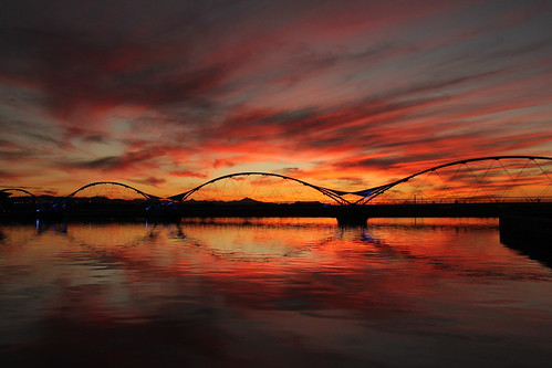 bridge sunset red arizona cloud lake reflection water yellow canon cloudy goldenhour tempe cpl 60d