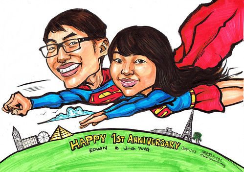 Superman and Supergirl caricatures