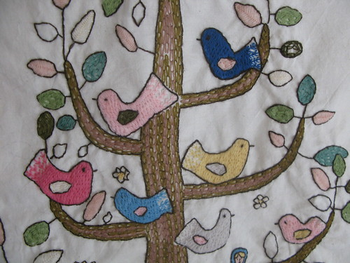 Tree of Life Crewelwork, close up